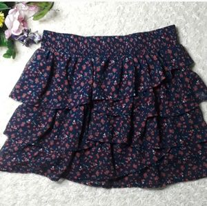 Maurices navy Floral Ruffle skirt flower